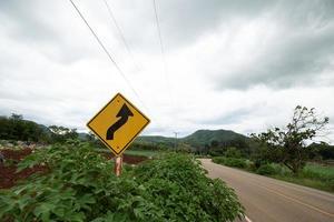 gelbe Verkehrszeichen warnen vor kurvenreicher Straße vor grünem Gras im Hintergrund foto
