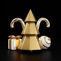 Luxus-Weihnachten 3D-Render-Banner oder Grußkarte. moderne minimale Neujahrs- und Weihnachtsdekoration in Gold und Schwarz mit Baum, Süßigkeiten, Ball, Geschenkbox auf schwarzem Hintergrund foto