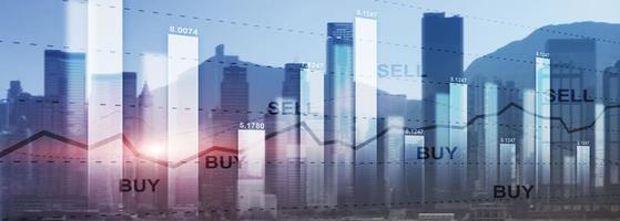 Trading Finance Börse Graph Chart Diagramm Business Forex Exchange Konzept Website-Header. foto