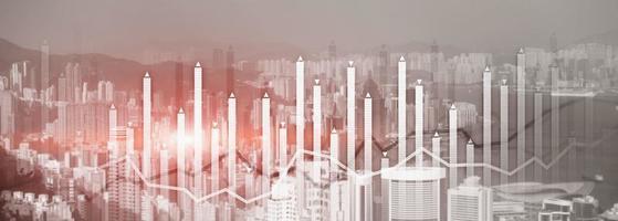 Finanzwachstum Diagramm Diagramm Diagramm Analyse Big Data Trading Anlagekonzept. Stadtansicht Skyline Website Header Banner Doppelbelichtung foto