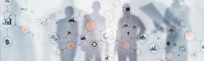 abstrakte Technologie industrieller Geschäftsprozess Organisationsstruktur Website-Header-Banner. foto