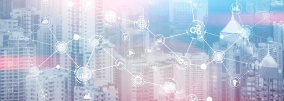 Unternehmensorganisationsstruktur Innovation Automatisierungstechnologie Panorama-Website-Header-Hintergrund. foto