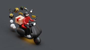 Schwarzer Freitag Zielseitenvorlage mit Kurier auf Roller liefert Paket 3D-Rendering-Illustration foto