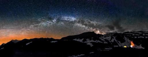 Camping im Zelt in der Nacht unter Milchstraße Sterne
