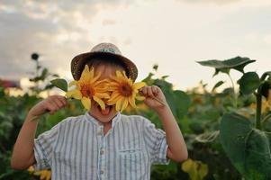 Kind in Sonnenblumen