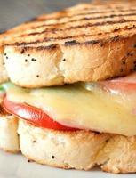 gegrilltes Sandwich mit Käseschmelze foto