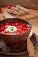 ukrainische und russische nationale rote Suppe Borschtsch Nahaufnahme foto