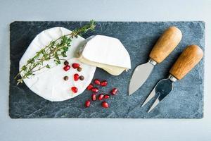 Camembert auf Steinsubstrat. Nahansicht foto