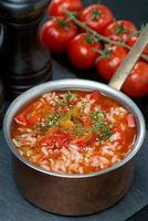 würzige Tomatensuppe mit Reis, Gemüse, Kräutern in einem Topf