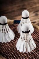 Badminton. Paddel und Federball.