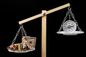 Geld und Kompass foto
