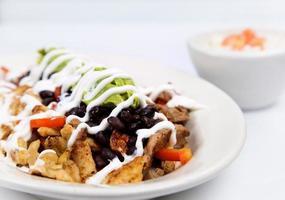 kohlenhydratarme mexikanische Hühnchen schwarze Bohnen und Rindfleisch foto