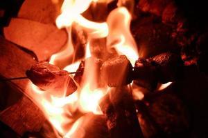 Flammen gegrilltes Huhn
