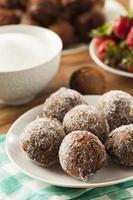 hausgemachte Schokoladen Donut Löcher foto