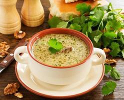 Kharcho-Rindfleischsuppe mit Walnüssen und Reis. georgische Küche. foto