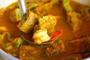 Garnelen-Gemüse-Omelett-Orangen-Curry