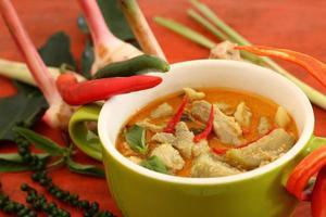 Schweinefleisch Curry grün.