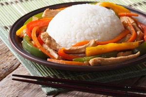 chinesischer Reis mit Huhn und Gemüse Nahaufnahme auf einem Teller