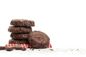 gesunde dunkle Schokolade Mandel Chia Samen Keksstapel foto