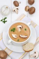 Pilzsuppe Essen Mittagessen mit Pilzen in der Schüssel foto