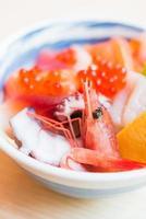 Sashimi roher Fisch Reisschale foto