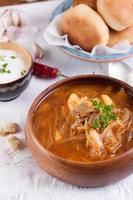 Redbeet-Suppe mit Pilzen und Brot foto