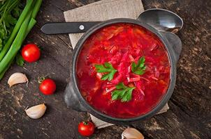 traditioneller ukrainischer russischer Gemüseborsch foto