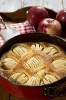Apfelkuchen in Auflaufform auf Tablette