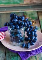 Zweig blaue Trauben in einem Glas auf einem Teller, vertikal foto
