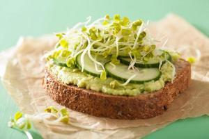 gesundes Roggenbrot mit Avocado-Gurken-Rettichsprossen foto