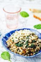 Spinat, weißer Bohnengerstenbrei foto