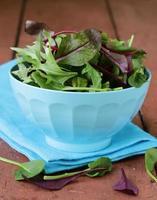 Salat (Rucola, Eisberg, rote Rübe) in einer Schüssel mischen foto