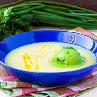 Gemüsesuppe mit grünem Eis aus Kräutern, Spinat foto