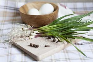 Knoblauch und Eier foto