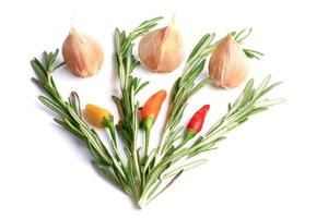 Rosmarin-Knoblauch-Chilischoten lokalisiert auf einem weißen Hintergrund foto