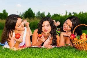 glückliche Freunde beim Picknick im Park. foto