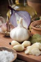 Knoblauch, Zwiebel, Koriander, Samen, Pfeffer, Lorbeerblatt, Salz, Olivenöl, foto