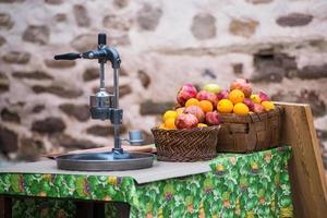 Zitruspresse und frisches Obst foto