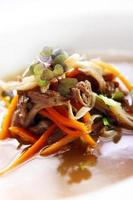 frische Gourmet-Suppe mit Fleisch foto