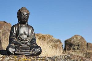 japanischer Buddha und Felsen