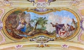 Jasov - Fresko an der Barockdecke vom Kreuzgang foto