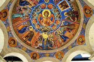 Fresko von Jesus und Heiligen foto
