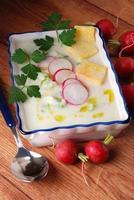 Radieschensuppe im Topf foto
