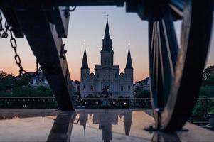 Jackson Square New Orleans, Louisiana bei Sonnenuntergang foto