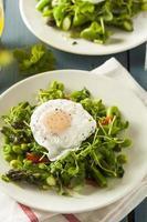 gesunde Scafata mit pochiertem Ei und Spargel foto