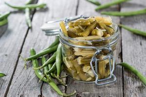 frisch gemachter grüner Bohnensalat