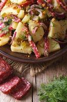 köstlicher Kartoffelsalat auf einem Teller und Zutaten Nahaufnahme foto