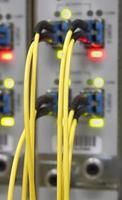 Optikkabel, die an Router-Ports angeschlossen sind