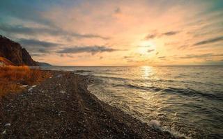 Sonnenaufgang im großen See foto