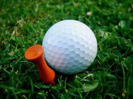 Golfball und orange T-Stück foto